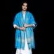 Shawl Pure Merino Corner Flower with booti Firozi Sky Blue