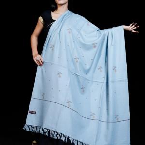 Shawl Pure Merino Flower booti Kullu Pattern Sky Blue