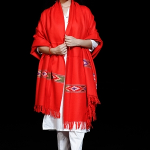 Shawl Pure Merino Wool Kullu Pattern Diamond Border Centre Plain Red