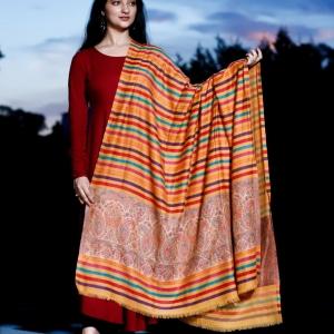 Shawl Semi Pashmina Floral Border Centre Stripe Yellow