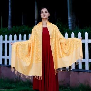 Stole Self Silk Embroided Golden Pure Marino Super Fine.