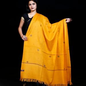 Shawl Kullu Pattern Barfi Design Pure Merino Yellow